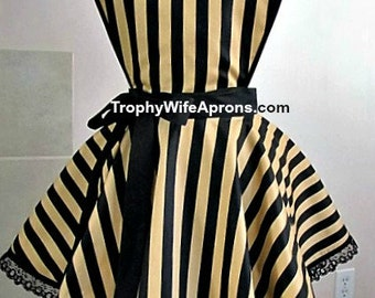 Apron number 4025 - Gold and black stripes circular style retro steampunk apron