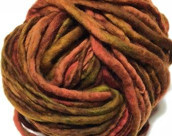 Handspun Merino wool yarn. Single ply. Super Bulky weight.  4oz. 40 yards. Knit. Crochet. Felt.