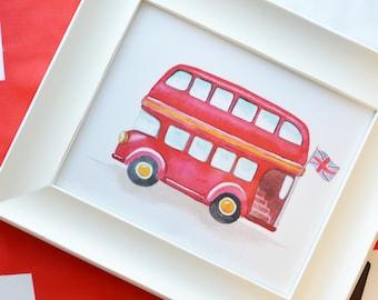 British Double Decker Bus Art Print (London Prints -  Double Decker Bus - Boy Decor - Red Bus Wall Art - Transport Art)