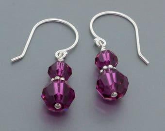 Swarovski Crystal Drop Earrings • Sterling Silver Purple Crystal Earrings Gift for Her • Crystal Jewelry Gift for Women