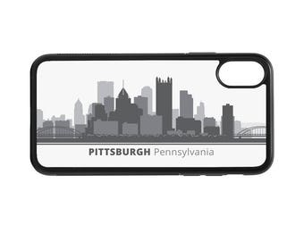 Pittsburgh Pennsylvania Skyline Personalized Phone Case - iPhone X 8 7 6 Plus, 5 5c SE, Galaxy S8 S8 Plus S7 S6 Edge S5, rubber, PA