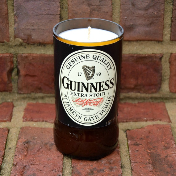 Guinness Extra Stout beer bottle candle made with soy wax