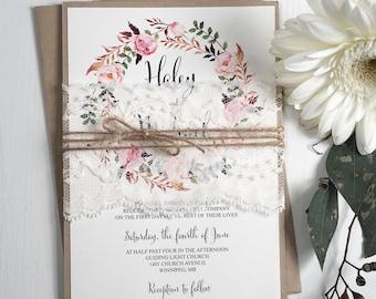Floral Wedding Invitation, Lace Wedding Invitation, Vintage Wedding Invitation, Rustic Invitation, DIY Kit