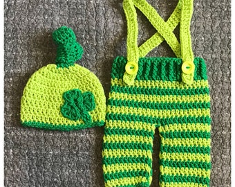 St Patrick's Day Newborn Outfit, Shamrock Newborn Outfit, Crochet Newborn Outfit, St Patty's Day Baby, St Patrick's Day Baby, Shamrock Baby