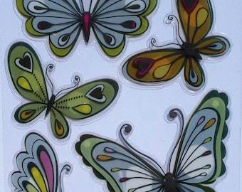 Stickers - Butterfly Green - 5 x 3D