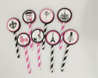 Paris Birthday, Paris Cupcake Toppers, Paris Party, Paris Theme Party, Paris Cupcakes, Eiffel Tower