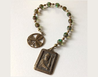 St. Patrick Chaplet Devotional with real bronze reproduction medals of St. Patrick and Trinity Shamrock.  Unique imported Czech glass beads
