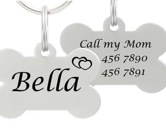 Double Sided Laser Etched Stainless Steel Pet ID Tag for Dog & Cat Tag Free Engraved and Personalized Bone Shape