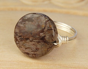 Sale! Brown Snowflake Jasper Ring- Sterling Silver, Yellow or Rose Gold Filled Wire Wrapped/ Round Gemstone- Size 4 5 6 7 8 9 10 11 12 13 14