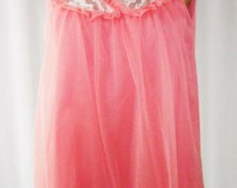 60s Chiffon Babydoll Nightgown Bouquet Coral Med