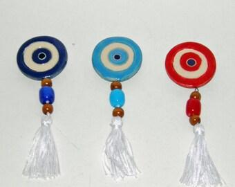 Ceramic Evil Eye Fridge Magnet - 3 Colors - Greek Mati - Gift Wrap, Blue Evil Eye, Red Evil Eye, Turquoise Evil Eye