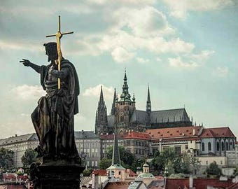 Prague Print, Prague Castle, Prague Gift, Gothic Architecture, Travel Print, Religious Wall Art