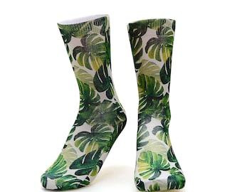 Palm tree socks. Botanical socks.Tropical socks.Summer Socks.Green Socks.leaf socks.