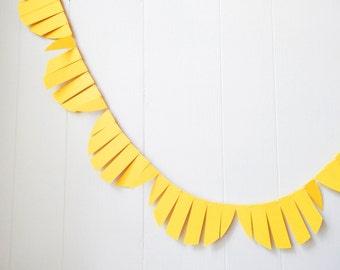 Yellow Fringe Garland / Wedding Garland / Fringe Garland / Yellow Bunting / Fringe Scallop garland / Photo Prop / Lemonade Stand Banner