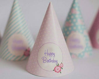 shabby chic happy birthday party hats, vintage party, party paper decoration, Birthday Party Package, printables, printing party decor