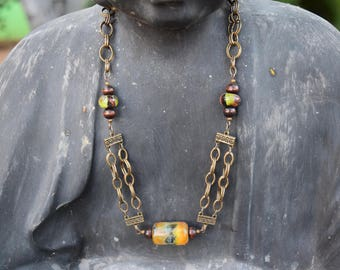 Handmade chain and lampworked glass bead necklace