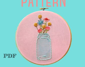 Mason Jar Embroidery Pattern,Beginner Embroidery Kit,Instant Download PDF,Hand Embroidery Pattern,Printable Stitching Pattern,Sampler