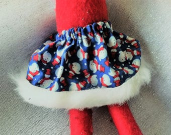 Christmas Shelf Clothes Blue Skirt with Red and White Snowmen for ELF PIXIE Faux Fur on Hem NEW