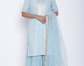 Blush Blue Dotted Shirt and with Sharara