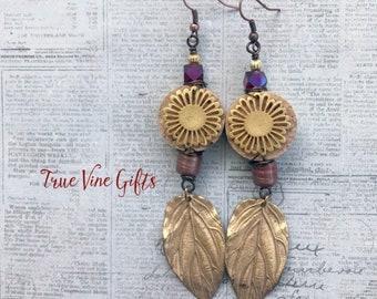 Wine Cork Earrings wirh gold leaves