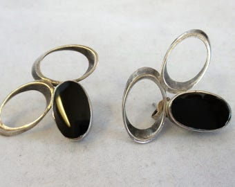 Vintage Sterling and Onyx Earrings