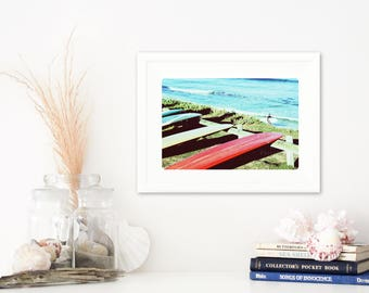Retro surfing art print, Longboard malibu beach print 8x10 A4, red, yellow, blue, Cottesloe, Australia