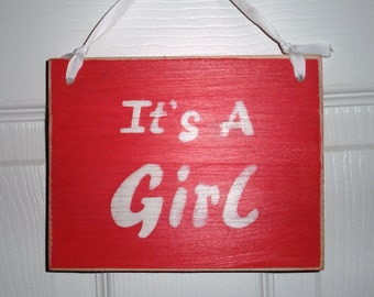 It's a Girl (Choose Color) Shabby Chic Sign