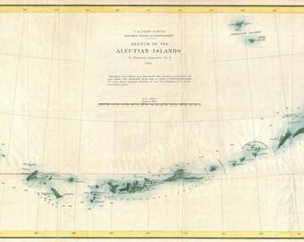 Vintage Antique Print of Aleutian Islands Alaska Map on Photo Paper, Matte Paper or Stretch Canvas