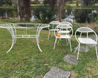 SALTERINI ATTRIBUTED PATIO M C M Set Steel Table, GLaSS ToP, Atomic Patio Set, 4  Chairs, Iron, Mesh / Mid Century Modern, at Modern Logic