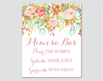 Mimosa Bar Sign with Pink and Gold Flowers - Floral Bridal Shower Mimosa Bar Sign Printable - Shabby Chic Garden Bridal Shower Sign - 0004