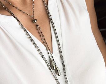Pyrite Necklace, Pyrite Jewelry, Lariat Necklace Pyrite, Y Necklace Gemstone, Oxidized Silver Pyrite Necklace, Silver Gemstone Lariat