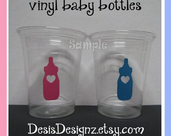 24 Gender reveal Baby bottle vinyl decals 12 oz. 16 oz or 20 oz. clear party cups Baby shower decoration girl boy sprinkle party