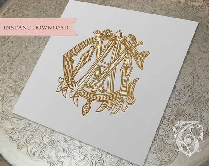 3 Initial Vintage Monogram MCA CAM AMC Three Letter Wedding Monogram Digital Download M C A