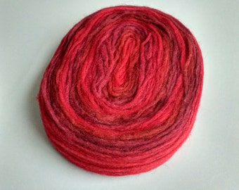 Thin Wool Pencil Roving, Pre-Yarn, Knitting, Spinning or Felting Fiber, Red Gradient