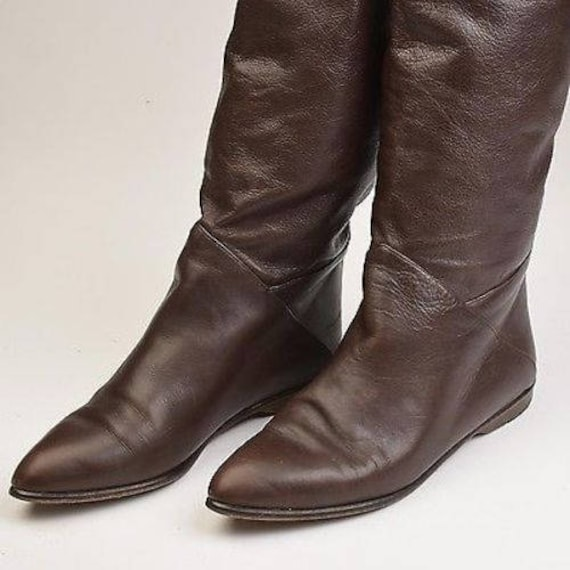 Boots Boots Casual Made Brown Boots Boots sz7 Cuff Leather Vint Italian Flat Leather Boots 80s 1980s Slouch in Pirate Boots Italy Boots xHIPwwUq8