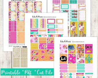 Hola Printable Planner Stickers/Weekly Kit/For Use with Erin Condren/Cutfile Fall September Glam TN Cinco De Mayo Taco Tuesday