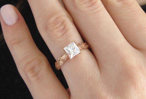 moissanite engagement ring rose gold leaf engagement ring