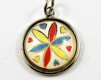 Enameled Pinwheel With Hearts Hoffman Bubble Sterling Silver Pendant or Charm.