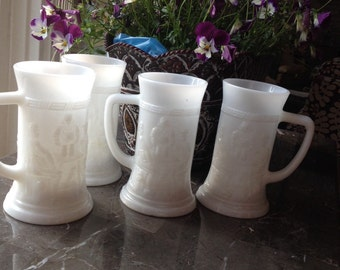 Milk glass mugs