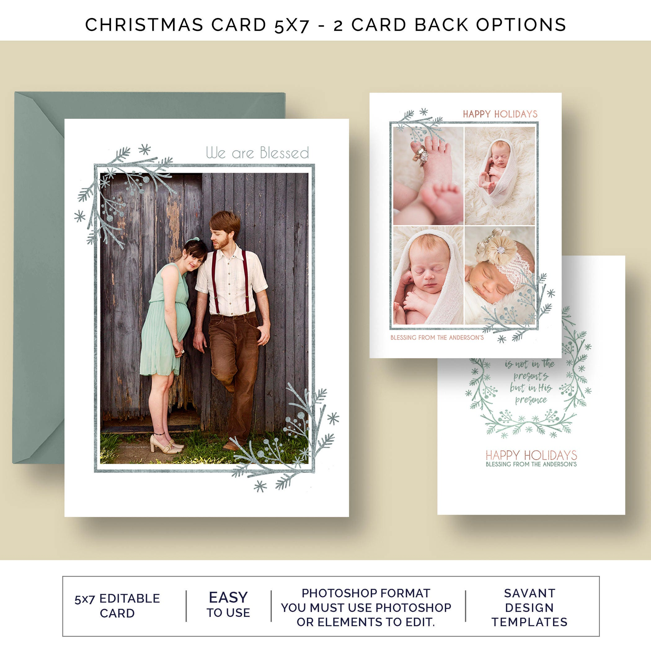 Christmas Photo Card Template We Are Blessed Holiday Card