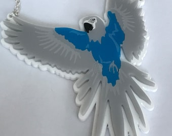Spix Macaw Laser Cut Acrylic Necklace - Plastic Jewelley - Birds - tropical parrots - perspex accessories - Macaw Necklace