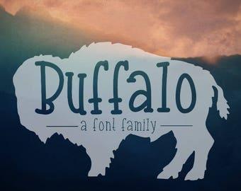 "Digital Font Download- Handwritten Font for Commercial Use- ""Buffalo"" font family- Open Type Font otf- Handwritten Slab Serif Font"