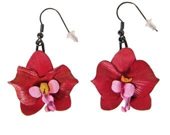 Flower Earrings Orchid fuchsia leather flower