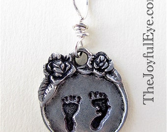 Pewter Pro Life Precious Feet Charm, Pewter Roses Charm with Precious Preborn Baby Footprints