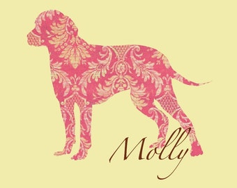 CHOOSE YOUR BREED Personalized 8 x 10 Dog Print - Pink Damask