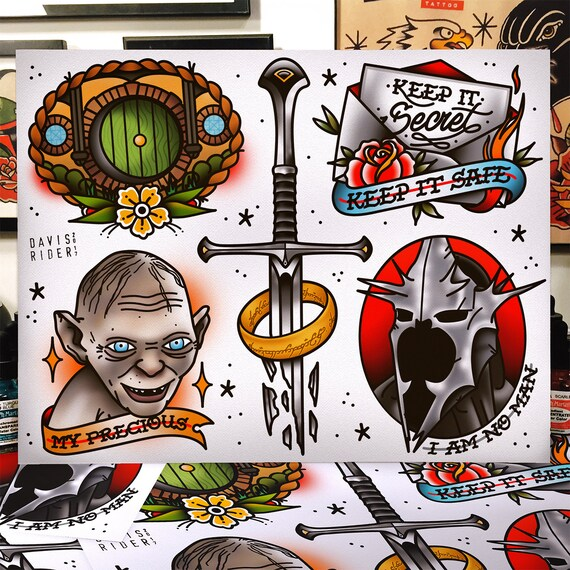 Lord Of The Rings Tattoo Flash Sheet