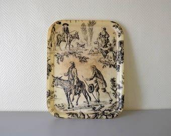 "Vintage fiberglass serving Tray / french pattern ""Toile de Jouy"""