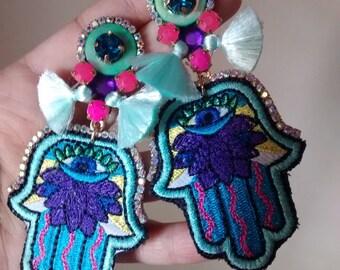 Aretes de Parche / Embroidery patch Earrings