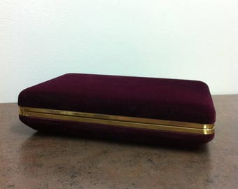 Vintage Jewelry Box - Purple Velveteen Hinged Case - Jewelry Storage - For Him or Her