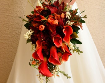 Fall Wedding Boutonniere Corsages and Flower Girl Halo 7 Pieces